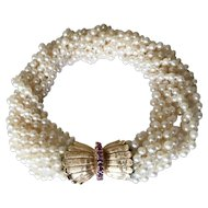 14K Ruby Clasp Retro Cultured Pearls Torsade Bracelet