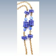 Vintage Long Chain Necklace Periwinkle Glass Beads
