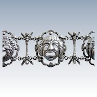 Peruzzi Boston Sterling Grotesque Roman Masks Bracelet