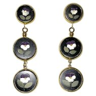 Vintage Pietra Dura Pansies Drop Earrings