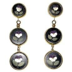 Vintage Pietra Dura Pansies Drop Earrings
