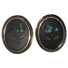 Victorian Pietra Dura Earrings Turquoise Flowers