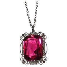 Vintage Sterling Pink Glass Pendant