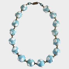 Lamp Work Art Deco Vintage Aqua Glass Polkadot Beads