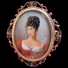Vintage Painted Portrait Miniature Brooch or Pendant 935 Silver Frame