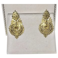 Portuguese Gilt Silver Filigree Earrings