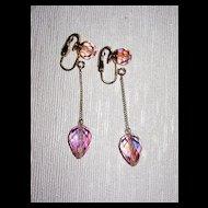 Pretty in Pink Crystal Earrings Clips