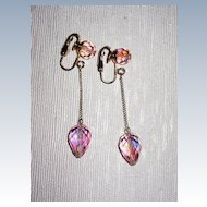 Pretty in Pink Crystal Earrings Clips