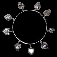 Genuine Victorian Sterling Puffy Hearts Bracelet 9 Hearts