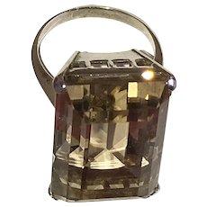 Art Deco Huge Yellow Quartz Silver Ring Earrings Set