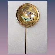 Victorian Reverse Painted Carved Stickpin