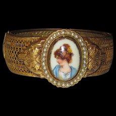 Victorian Revival Filigree Painted Porcelain Bracelet