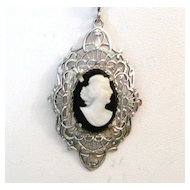 Vintage Filigree Cameo Pendant Necklace