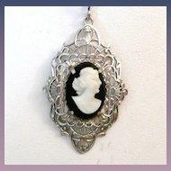 Vintage Filigree Cameo Pendant Necklace