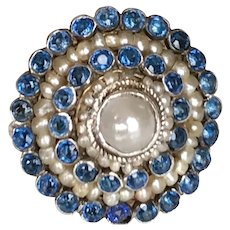 Austro-Hungarian Silver Sapphire Cultured Pearls  Ring