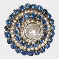 Austro-Hungarian Silver Sapphire Paste Cultured Pearls  Ring