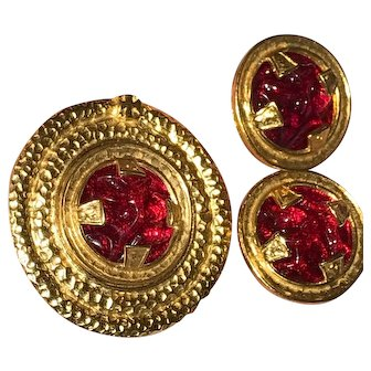 "Vintage Robert Rose Brooch and Earrings Bold Gold Tone Red ""Poured Glass"" Look"