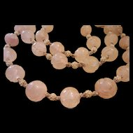 Art Deco Carved Rose Quartz Rock Crystal Necklace