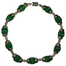 Art Deco Louis Rousselet Gripoix Fluted Emerald Green Beads Choker