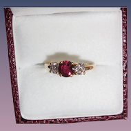 Gorgeous Fine Estate Ruby Diamond Ring 18K Yellow Gold