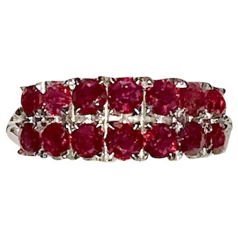 Vintage 10K Double Row Natural Rubies Ring