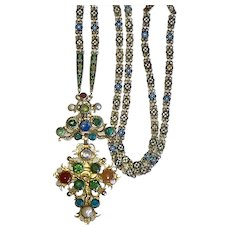 Rare Russian Pectoral Cross Enamel Long Chain