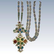 Rare Russian Enamel Long Chain Cross