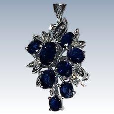 Vintage Sapphire Diamonds Pendant / Pin