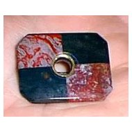 Victorian Scottish Square Target Pin Bloodstone Agate