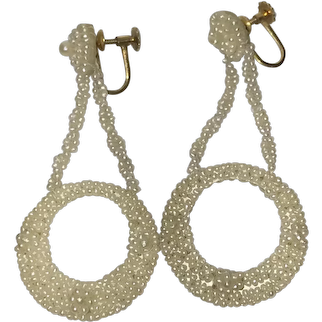 Georgian 14k Gold Woven Natural Seed Pearl Drop Earrings