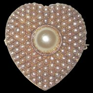 14K Gold Cultured Seed Pearls Pin Pendant