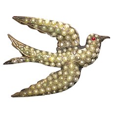 Beautiful Bird Victorian Cultured Seed Pearls Pin