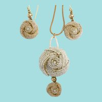 Antique Cultured Seed Pearls Earrings and Pendant (restored)