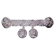 George Shiebler Sterling Bar Pin Classical