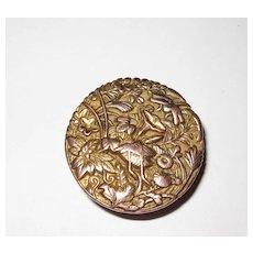 Antique Collar Button Japan Design Mixed Metals Grasshopper
