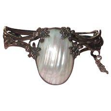 Vintage Silver Bracelet Mother of Pearl