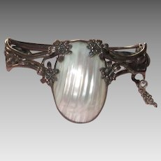 Vintage Silver Bracelet Mother of Pearl