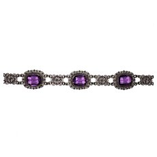 Pretty Vintage Filigree 800 Silver Bracelet Purple Glass Stones