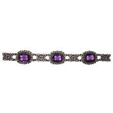 Pretty Vintage Filigree 800 Silver Bracelet Purple Glass Stones