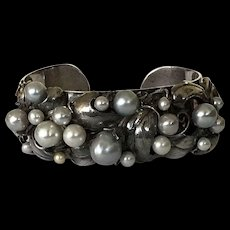 Vintage Sterling Pure Silver Cultured Pearls Cuff Bracelet