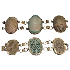 Antique Steatite Scarab Bracelet
