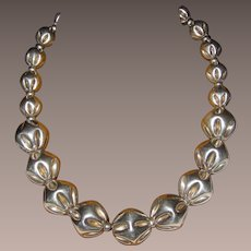 Vintage Heavy Sterling Fluted Beads Necklace