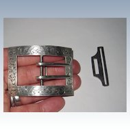 Victorian Sterling Belt Buckle with Clasp