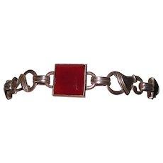 Arts & Crafts Carnelian Sterling Bracelet