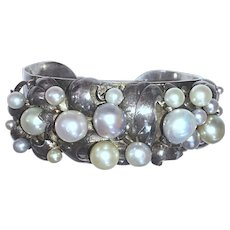 Vintage Pure Silver Baroque Cultured Pearls Cuff Bracelet