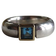 Estate Sterling Blue Topaz Heavy Band Ring