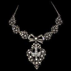 Antique French Silver and Paste Saint - Esprit Necklace Georgian