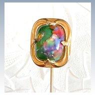 Large Art Nouveau Art Glass Stickpin