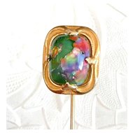 Large Art Nouveau Art Glass Stickpin