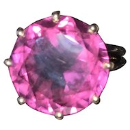 Retro Color Change Synthetic Alexandrite 14K Gold Ring
